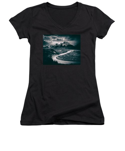 Snake River In The Tetons - 1930s Women's V-Neck T-Shirt