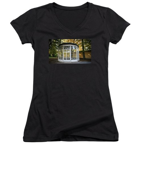 Women's V-Neck T-Shirt (Junior Cut) featuring the photograph Sound Of Music Gazebo by Silvia Bruno