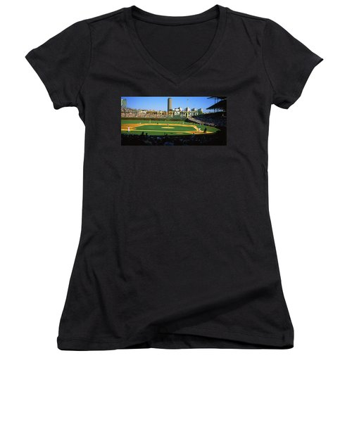 Spectators In A Stadium, Wrigley Field Women's V-Neck T-Shirt (Junior Cut) by Panoramic Images