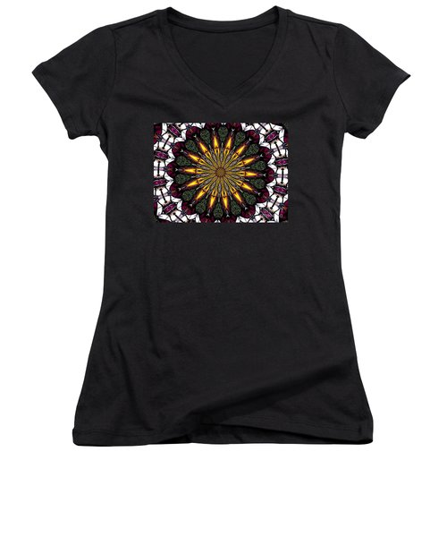 Women's V-Neck T-Shirt (Junior Cut) featuring the photograph Stained Glass Kaleidoscope 1 by Rose Santuci-Sofranko