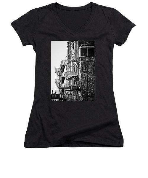 Stairs Women's V-Neck T-Shirt (Junior Cut) by Mark Alder