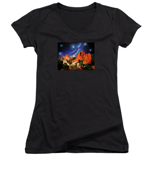 Starry Night At Garden Of The Gods Women's V-Neck (Athletic Fit)