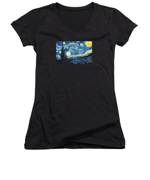 The Starry Night Women's V-Neck T-Shirt (Junior Cut) by Vincent Van Gogh