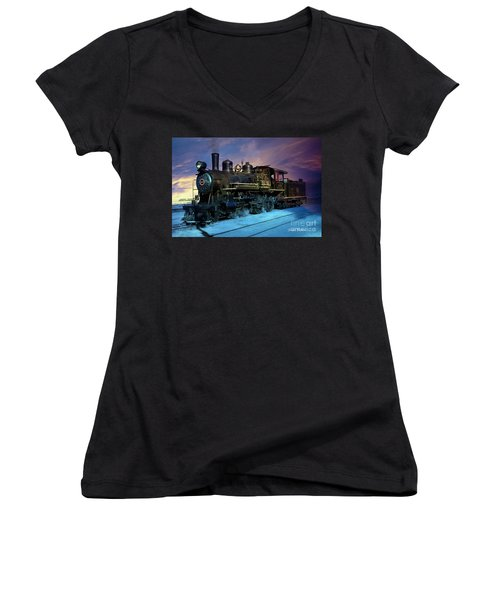 Steam Engine Nevada Northern Women's V-Neck