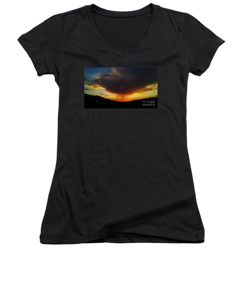 Women's V-Neck T-Shirt (Junior Cut) featuring the photograph Storms Coming by Chris Tarpening
