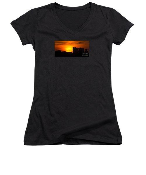 Sunrise  Women's V-Neck T-Shirt (Junior Cut) by Meg Rousher