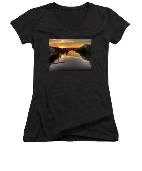 Sunrise On The Petaluma River Women's V-Neck T-Shirt (Junior Cut) by Bill Gallagher
