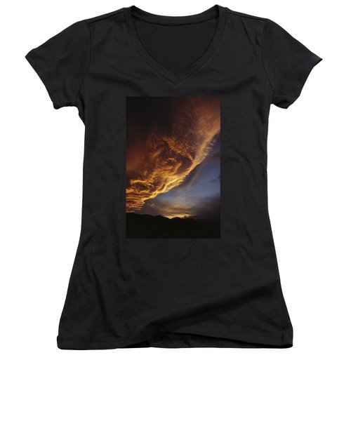 Sunset On Storm Clouds Near Mt Cook Women's V-Neck T-Shirt