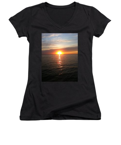 Sunset On The Bay Women's V-Neck T-Shirt (Junior Cut) by Tiffany Erdman