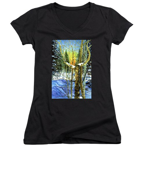 Women's V-Neck T-Shirt (Junior Cut) featuring the painting Supplication-psalm 28 Verse 2 by Barbara Jewell