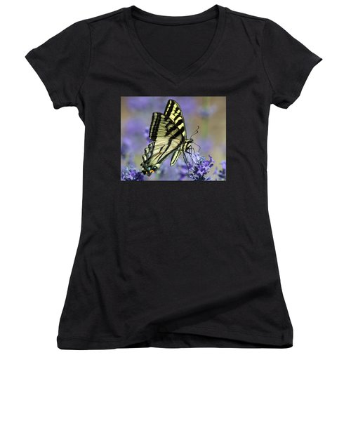 Swallowtail Butterfly Women's V-Neck T-Shirt (Junior Cut) by Jack Bell