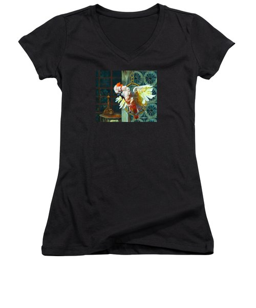 Tango The Moluccan Cockatoo  Women's V-Neck T-Shirt