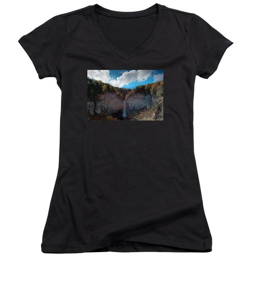 Women's V-Neck T-Shirt (Junior Cut) featuring the photograph Taughannock Falls Ithaca New York by Paul Ge