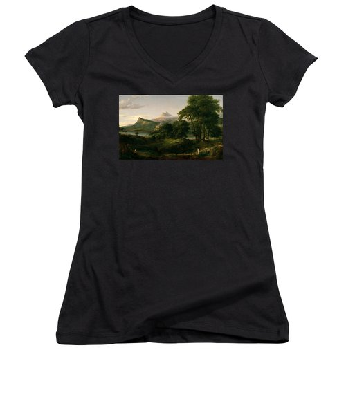 The Course Of Empire The Arcadian Or Pastoral State Women's V-Neck