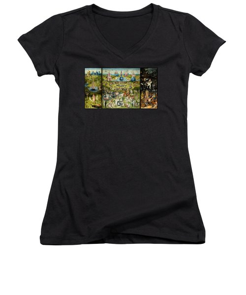 The Garden Of Earthly Delights Women's V-Neck T-Shirt (Junior Cut) by Hieronymus Bosch