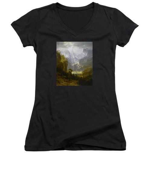 The Rocky Mountains Lander's Peak Women's V-Neck T-Shirt (Junior Cut) by Celestial Images