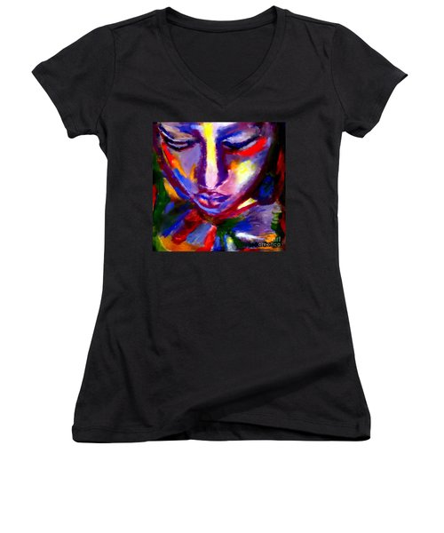 Women's V-Neck T-Shirt (Junior Cut) featuring the painting The Universe And Me by Helena Wierzbicki