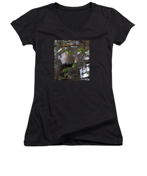 Women's V-Neck T-Shirt (Junior Cut) featuring the photograph The Watcher by Cynthia Lagoudakis