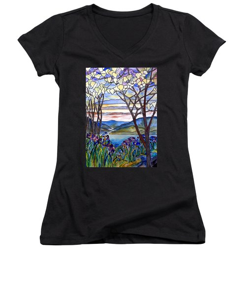 Stained Glass Tiffany Frank Memorial Window Women's V-Neck T-Shirt (Junior Cut) by Donna Walsh