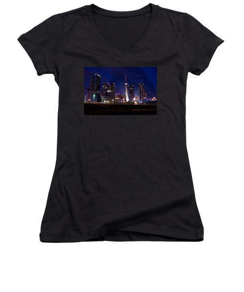 Toronto By Night Women's V-Neck (Athletic Fit)