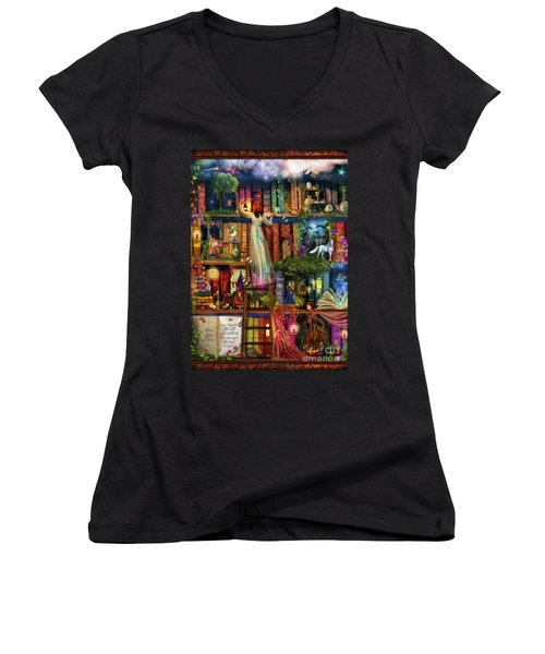 Treasure Hunt Book Shelf Women's V-Neck T-Shirt