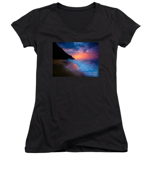 Women's V-Neck T-Shirt (Junior Cut) featuring the digital art Tropical Paradise by Anthony Fishburne