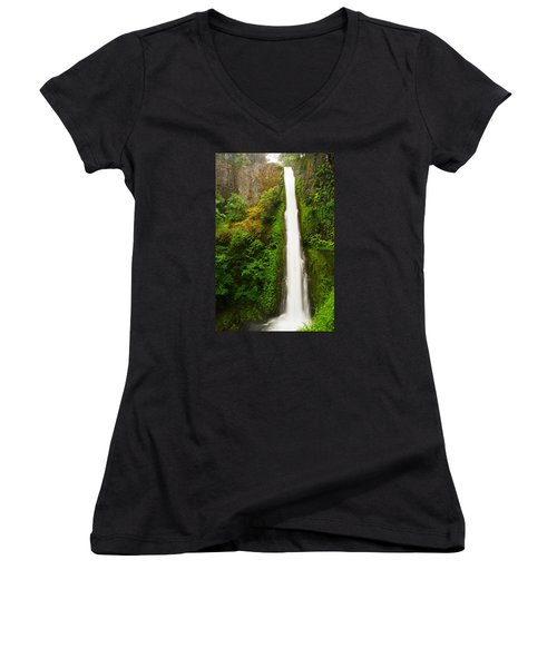 Tunnel Falls  Women's V-Neck T-Shirt (Junior Cut) by Jeff Swan