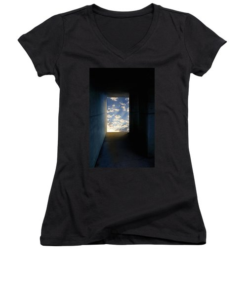 Tunnel With Light Women's V-Neck T-Shirt (Junior Cut) by Melinda Fawver