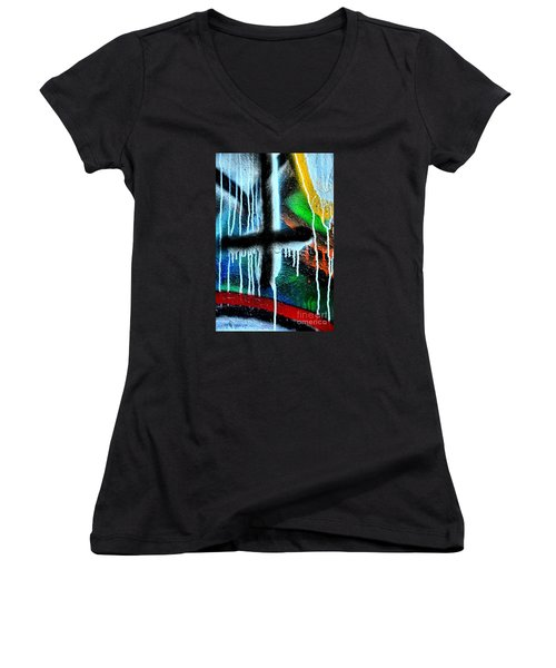 Women's V-Neck T-Shirt (Junior Cut) featuring the photograph Urban Abstract 9 by Newel Hunter