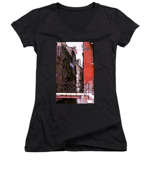 Women's V-Neck T-Shirt (Junior Cut) featuring the photograph Venice by Ira Shander