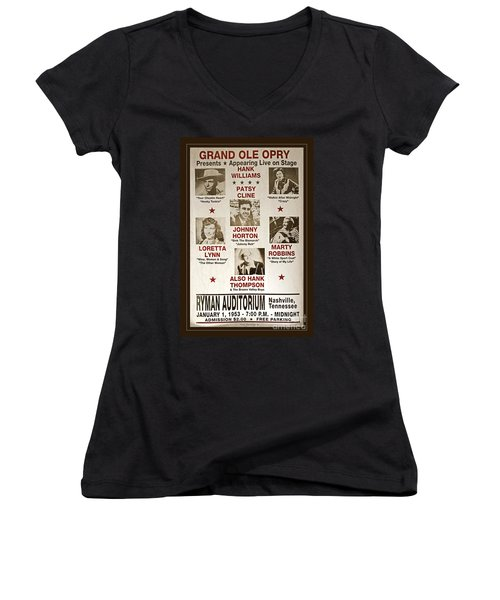 Vintage 1953 Grand Ole Opry Poster Women's V-Neck T-Shirt (Junior Cut) by John Stephens