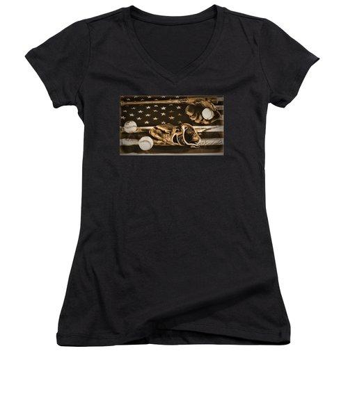 Vintage Baseball Women's V-Neck T-Shirt