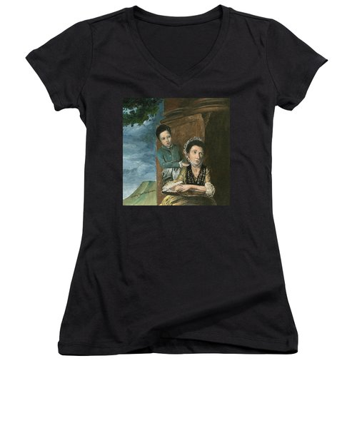 Women's V-Neck T-Shirt (Junior Cut) featuring the painting Vintage Mother And Son by Mary Ellen Anderson