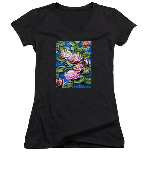 Women's V-Neck T-Shirt (Junior Cut) featuring the painting Water Lilies by Harsh Malik