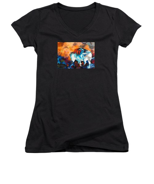 Women's V-Neck T-Shirt (Junior Cut) featuring the painting White Buffalo Ghost by Karen Kennedy Chatham