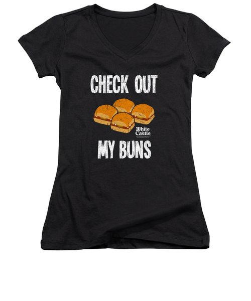 White Castle - My Buns Women's V-Neck T-Shirt (Junior Cut) by Brand A