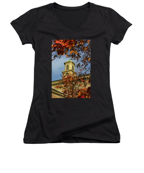 Women's V-Neck T-Shirt (Junior Cut) featuring the photograph William And Mary College by Jacqueline M Lewis