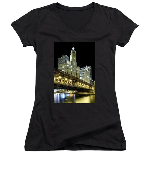 Women's V-Neck T-Shirt featuring the photograph Wrigley Building At Night by Sebastian Musial