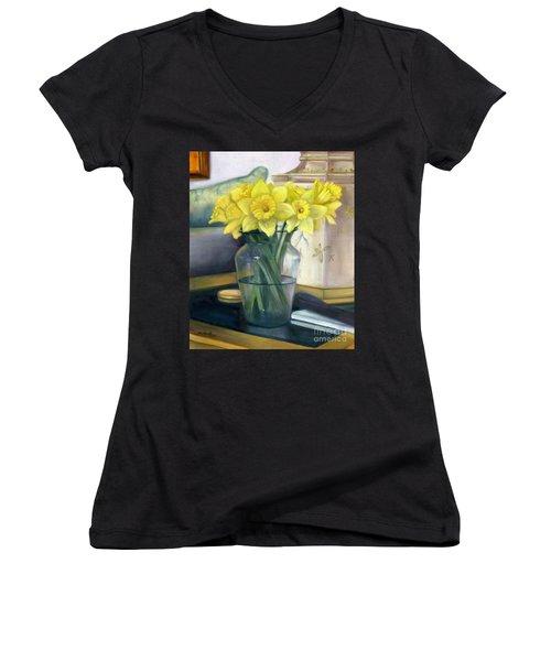 Yellow Daffodils Women's V-Neck T-Shirt (Junior Cut) by Marlene Book