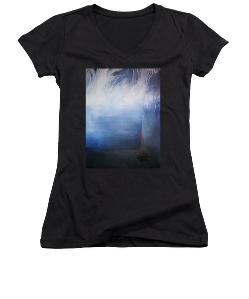 Women's V-Neck T-Shirt (Junior Cut) featuring the painting YOD by Carrie Maurer