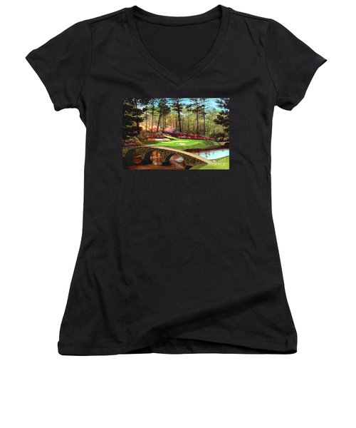 12th Hole At Augusta  Women's V-Neck T-Shirt (Junior Cut) by Tim Gilliland