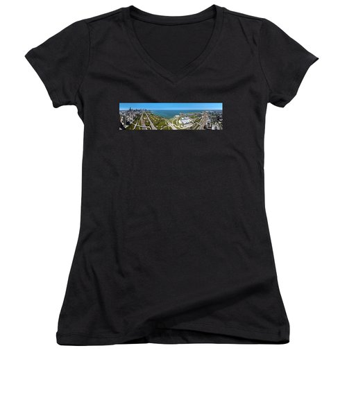 180 Degree View Of A City, Lake Women's V-Neck T-Shirt (Junior Cut) by Panoramic Images