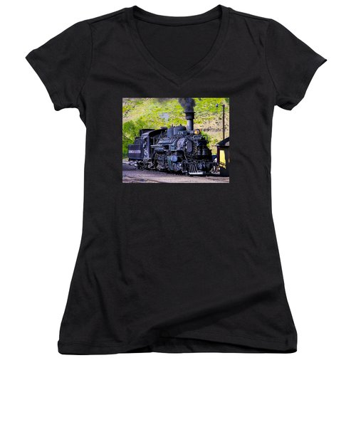 1923 Vintage  Railroad Train Locomotive  Women's V-Neck (Athletic Fit)