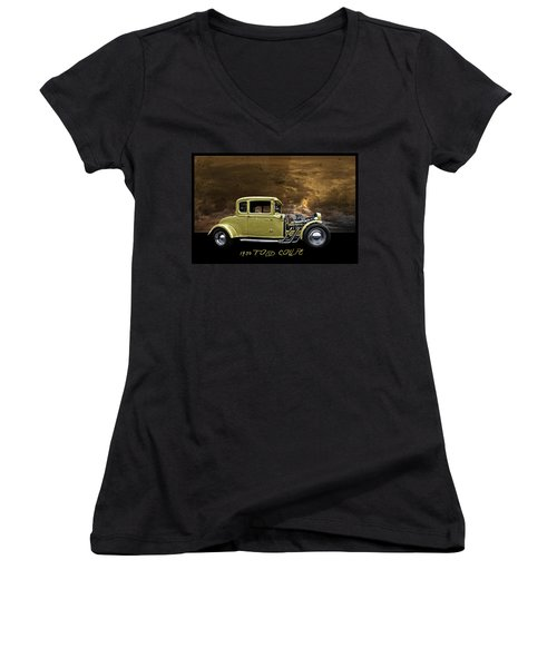 Women's V-Neck T-Shirt (Junior Cut) featuring the digital art 1930 Ford Coupe by Richard Farrington