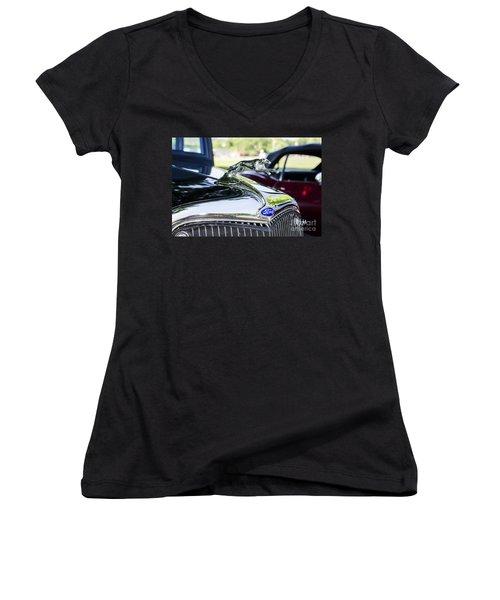 1933 Ford Hood Ornament Women's V-Neck T-Shirt (Junior Cut) by Paul Mashburn