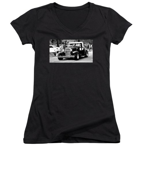 Women's V-Neck T-Shirt (Junior Cut) featuring the photograph 1934 Classic Car In Black And White by Ester  Rogers