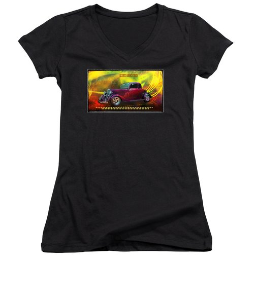 1934 Ford 5 Window Gennie Women's V-Neck