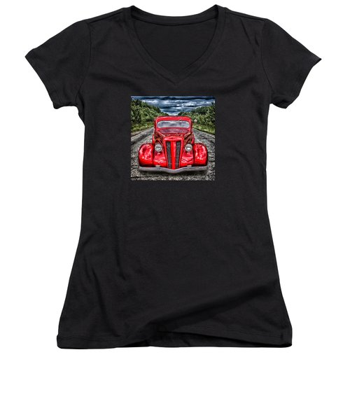 Women's V-Neck T-Shirt (Junior Cut) featuring the digital art 1935 Ford Window Coupe by Richard Farrington