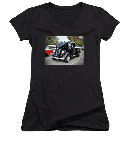 Women's V-Neck T-Shirt (Junior Cut) featuring the photograph 1937 Ford Pick Up by Kathy Baccari