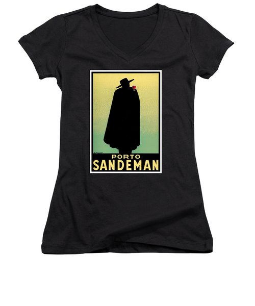 1938 - Porto Sandeman French Wines Advertisement Poster - Color Women's V-Neck (Athletic Fit)